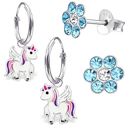 GH* KIDS 2 PAAR Kleine Einhorn Creolen + Ohrstecker 925 Echt Silber Mädchen Baby Kinder Ohrringe Ohrhänger Stern Krone Eule Pegasus (mit Blau Blume)