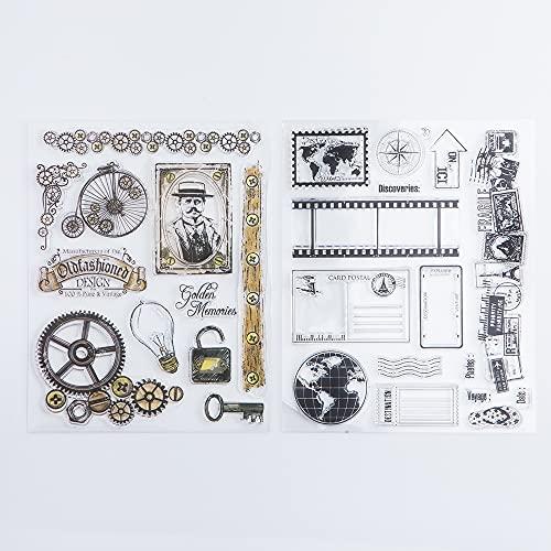 2 Stück klare Stempel Silikon Stempel Karten mit Hochformat, Erde, Karte, Landschaft, Grußworte Muster für Kartengestaltung, Dekoration und DIY Scrapbooking Prägung Album Dekoration Handwerk