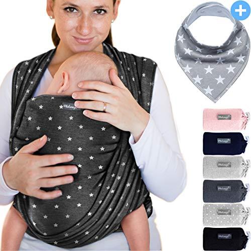 Babytragetuch aus 100% Baumwolle - Dunkelgrau mit Sternen – hochwertiges Baby-Tragetuch für Neugeborene und Babys bis 15 kg – inkl. GRATIS Baby-Lätzchen