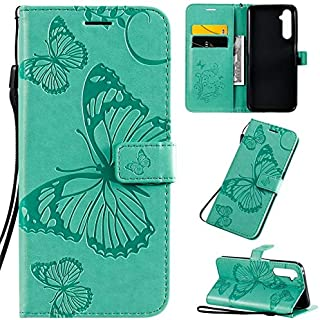 Yhuisen Butterfly Flower Floral Pattern PU Leather Wallet Stand Case with Wrist Strap for OPPO Realme 6 Pro (Color : Green)