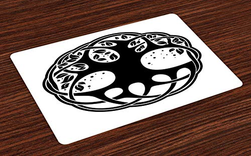 Lunarable Celtic Place Mats Set of 4, Celtic Tree of Life Historic Scottish Nature Branches Root Knots Picture, Washable Fabric Placemats for Dining Table, Standard Size, White Black