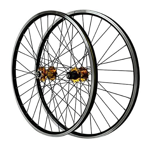 ZPPZYE 26' 27,5 Pulgadas 29er Ruedas de Bicicleta Pared Doble Aleación de Aluminio Freno en V Ruedas de Ciclismo MTB 32 Hoyos para 7-12 Velocidades (Color : Gold, Size : 27.5 Inch)