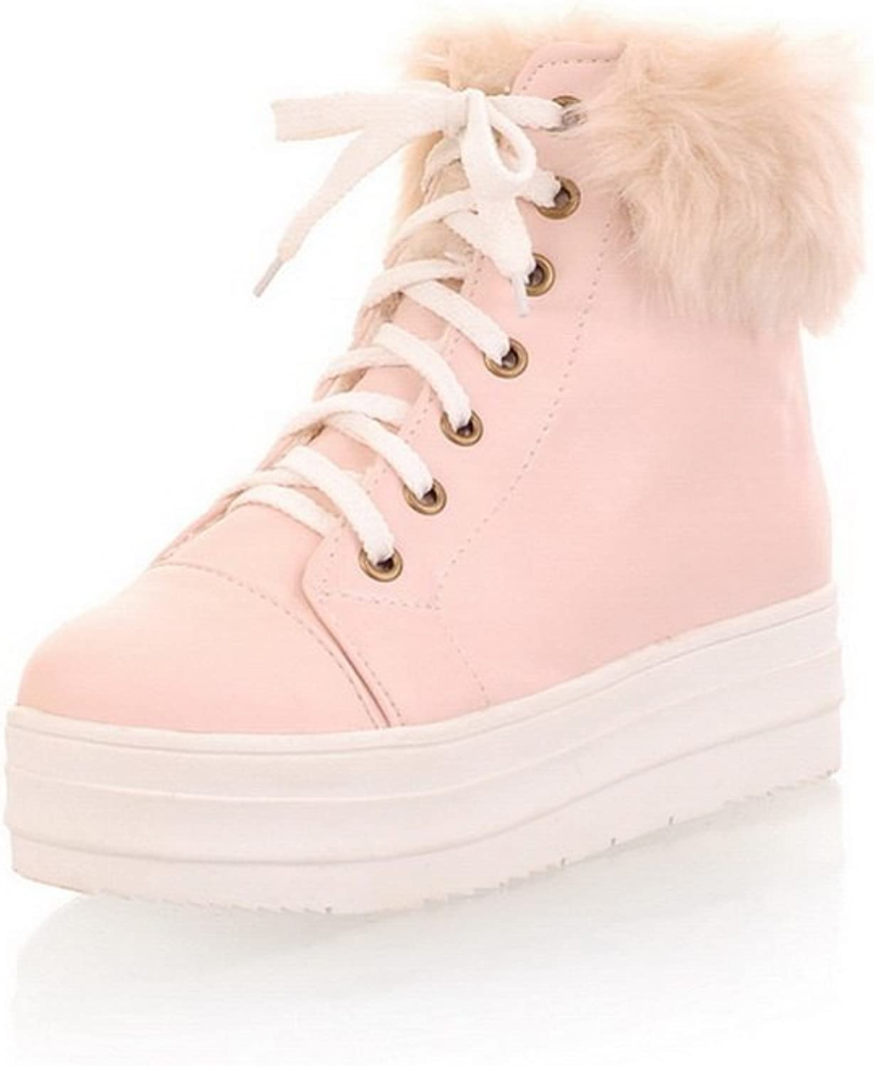 WeiPoot Women's PU Closed Round Toe Low-Top Low-Heels Boots, Pink, 39