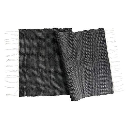 Craft Story Web-Teppich Giulio I Bad-Vorleger schwarz I Bad-Teppich gewebt I Boden Läufer handwerkliche Herstellung I ca. 70 x 140cm
