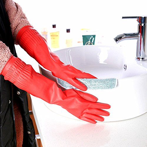 Product Image 5: Rubber Cleaning Gloves Kitchen Dishwashing Glove 3-Pairs,Waterproof Reuseable.(Medium)