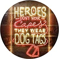 Heroes Don't Wear Caps Wear Dog Tags Lover Dual Color LED看板 ネオンプレート サイン 標識 赤色 + 黄色 300 x 400mm st6s34-i3411-ry