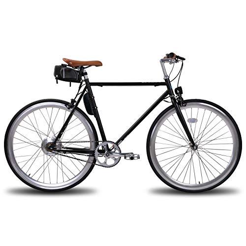 LAMASSU Bicicletta elettrica con marcia fissa fissa, per adulti, con batteria da 36 V, 5 Ah, 250 W, telaio in acciaio
