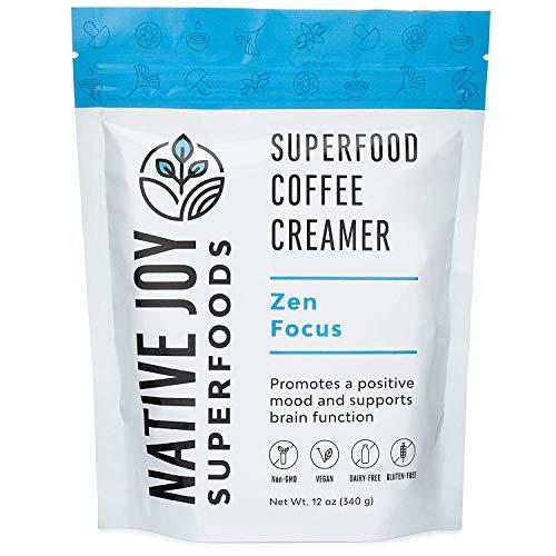 Native Joy Superfoods - Zen Focus Superfood Coffee Creamer - L-Theanine, Chaga Mushroom & MCT's | Non Dairy | Vegan | Paleo | Gluten Free