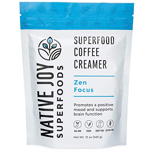 Native Joy Superfoods - Zen Focus Superfood Coffee Creamer - L-Theanine, Chaga Mushroom & MCT's | Non Dairy | Vegan | Paleo | Gluten Free | Improve Focus, Reduce Anxiety & Increase Energy