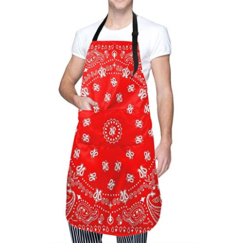 Ajustable Colgante de Cuello Personalizado Delantal Impermeable,Diadema Bandana Red Western Paisley Pañuelo Bufanda Pañuelo Diseño,Babero de Cocina Vestido para Hombres Mujeres con 2 Bolsillos