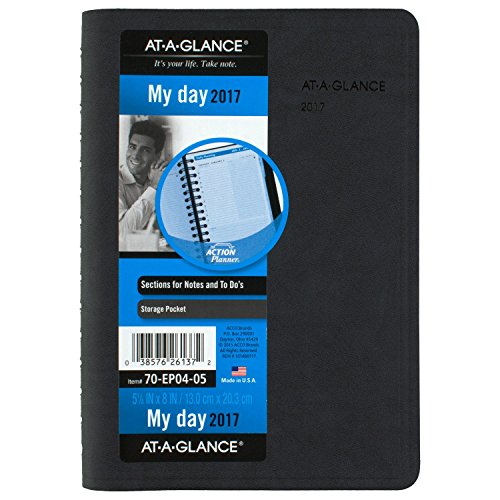 AT-A-GLANCE Daily Appointment Book / Planner 2017, The Action Planner, 5-1/8 x 8', Black (70-EP04-05)