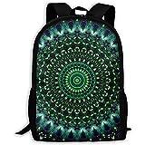Grüne Mandala Tie Dye Laptop Bookbag, Reisetasche, wasserdichte Anti-Theft College Schultasche