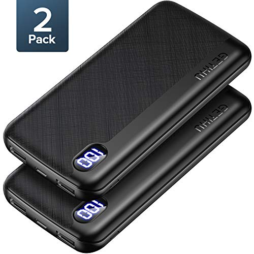 【2 Pack】 GETIHU Portable Charger, LED Display USB C High-Speed Power Bank, Ultra Slim 3 Outputs 10000mAh External Phone Battery Pack for iPhone 11 X XS 8 Plus Samsung S10 LG Google iPad AirPods etc.