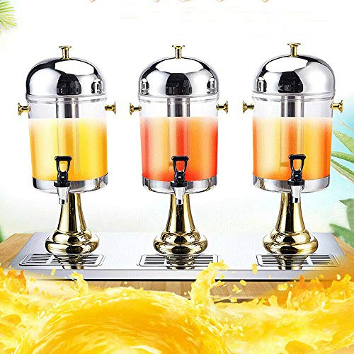 6.3 Gallon 8Lx3 Iced Beverage Dispenser Drink Dispenser with Ice Container Fruit Infuser Stand Spigot Beverage Dispenser for Parties Weddings Catering Events (Three Head, Golden)