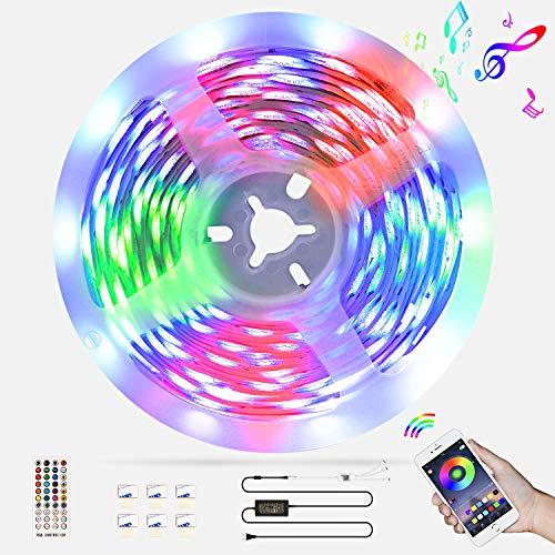 LED Strip 6M,kdorrku Bluetooth RGB LED Streifen Bänder Lichtband mit Fernbedienung,Sync Mit Musik Flexibel Selbstklebende Dimmable LED Lichterketten,5050 SMD LED Stripe Band Leiste für Dekoration