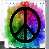 CJSZSD Paz Cortina de Ducha Propaganda Vaca Graffiti Splash Anti-War Logo Nota Musical Música Arte Abstracto Colorido Juego de Cortina de baño Ganchos 180x180cm