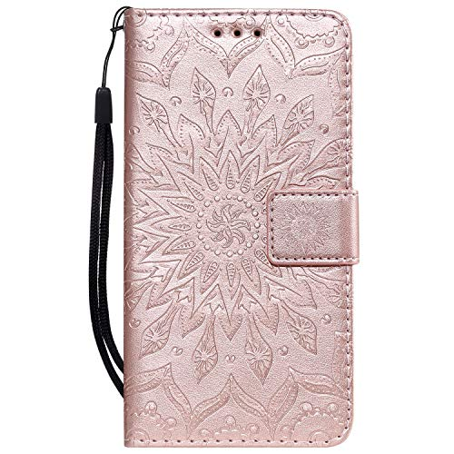 Jeewi Hülle für Nokia 1Plus Hülle Handyhülle [Standfunktion] [Kartenfach] [Magnetverschluss] Tasche Etui Schutzhülle lederhülle klapphülle für Nokia 1 Plus - JEKT032124 Rosa Gold