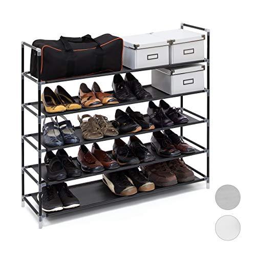 Relaxdays 1 x Schuhregal mit 5 Ablagen, Schuhablage für 20 Paar Schuhe, erweiterbar, HxBxT: 90,5 x 87 x 29,5 cm, schwarz