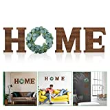 Wooden Home Sign Decorative Wooden Letters with Wreath Rustic Wall Hanging Wooden Home Sign Wall Decor Signs with Artificial Eucalyptus for Home Decor Living Room House, 9.8 x 8.5 Inch (Brown)