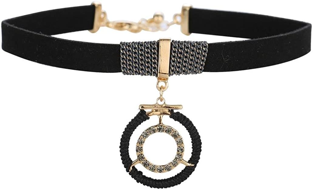 Becoler Leather Necklace Rhinestones Alloy Artificial Collar Necklace Chain