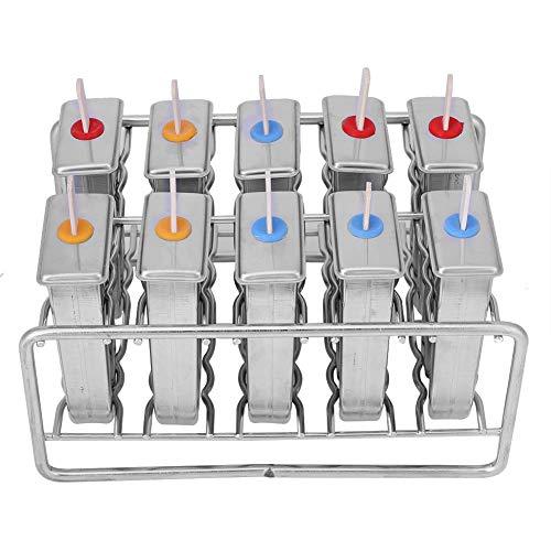 Eisformen, Eedelstahl Stieleisformer Eis am Stiel Förmchen für Eislutscher selbst Machen, BPA Frei, 10er Set mit 100 Stücke Holzsiele (Art.1)