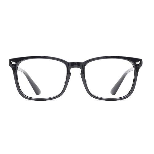 99077ee071 TIJN Unisex Stylish Square Non-prescription Eyeglasses Glasses Clear Lens  Eyewear