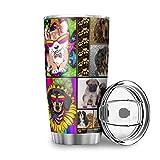 Bannanabut Vaso de viaje para perro, colorido arco iris, de doble pared, aislado al vacío, vaso de viaje con tapa, taza de...
