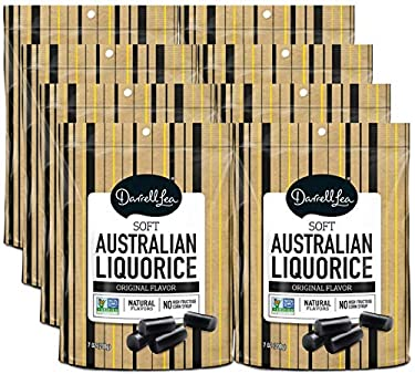 Darrell Lea Black Soft Australian Made Regaliz (8) bolsas de 7 oz – Sin OMG, sin HFCS, Vegetarian y Kosher – la marca #1 de Regaliz.