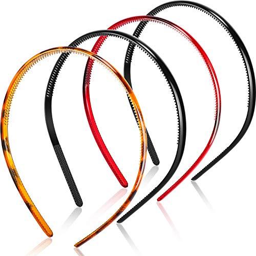 4 Piezas Diademas Lisas de Plástico con Dientes Diademas Delgadas de Plástico DIY, 8 mm de Ancho (Negro, Marrón, Rojo Profundo)