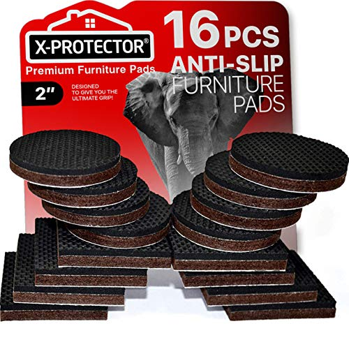 """Furniture Grippers X-PROTECTOR Non Slip Furniture Pads 16 Pack 2"""" – Best Rubber Furniture Pads Couch Stoppers – Premium Self Adhesive Floor Protectors Furniture Pad for Keep in Place Furniture!"""