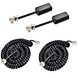 Phone Cord Detangler with Cord, 2 Pack 25ft Uncoiled RFAdapter Black Anti-Tangle 360 Degree Rotating Landline Cable and Telephone Handset Cord