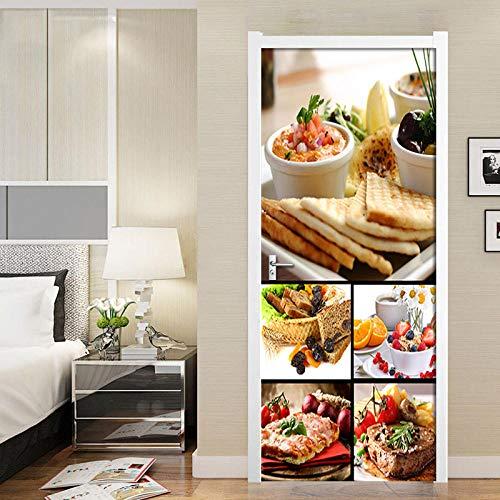 geen merk 3D deur muurschildering voedsel huisdecoratie muur kunst muurschilderingen Woonkamer Kwekerij Restaurant Hotel Café Kantoor Verwijderbare Zelfklevende Stickers.77X200Cm