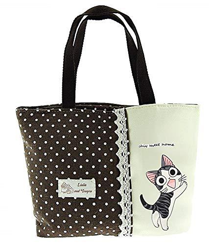 Lovelegis Bolso de mano para mujer - kawaii - tela - lunares - gato - vintage - retro - niña - niña - cierre de cremallera - idea de regalo original - color marrón