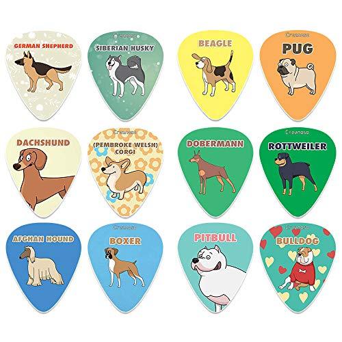 Creanoso Cool Dog Guitar Picks (12-Pack) - Medium Gauge Celluloid - Unique Music Gifts & Stocking Stuffers for Men Him Husband Dad Boyfriend Son Boys Kids Musician Children Day Dog Owners
