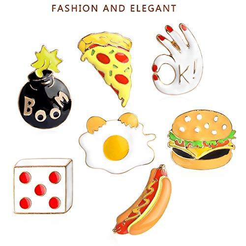 HIZZEEN Emaille Pin Set Cartoon-Revers-Brosche Lebensmittel Abzeichen Pin für Kleidersack Jacke Rucksack Dekoration und Weihnachten Halloween Near-Jahr-Geschenk