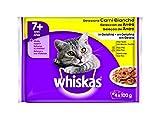 Whiskas Multipack de Comida Húmeda en Gelatina para gatos senior Selección Aves (4 bolsitas x 100g)