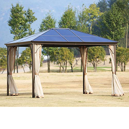 SUNCROWN Outdoor Patio Garden Gazebo 10 x 10 FT All-Season Permanent Gazebo with Vented Soft Canopy,...
