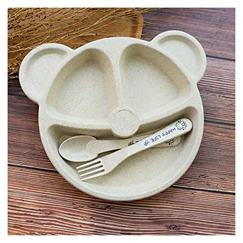Srfghjs Plato para niños 3 unids bebé bambú vajilla Cuenco Cuchara Tenedor alimentación Comida vajilla Conjunto Lindo Dibujos Animados Panda niños Platos (Color : Beige)