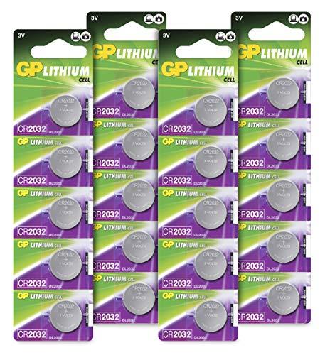 GP Batteries CR2032 - Confezione da 20 Batterie a Bottone al Litio 2032 da 3V - Alta qualità