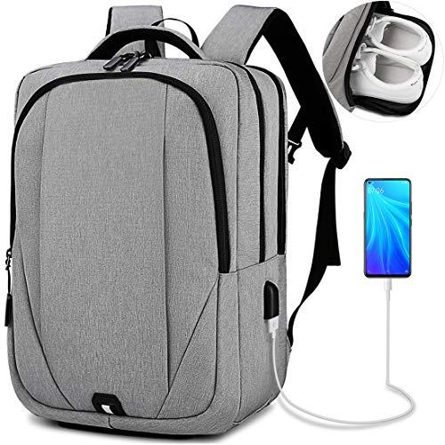 NEWHEY Mochila para portátil para hombre de 15,6 pulgadas con puerto de carga USB para ordenador portátil, mochila escolar resistente al agua, mochila de negocios para hombre, color gris