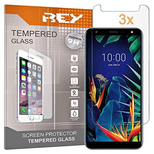 REY Pack 3X Panzerglas Schutzfolie für LG K40, Bildschirmschutzfolie 9H+ Festigkeit, Anti-Kratzen, Anti-Öl, Anti-Bläschen