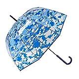GOTTA Paraguas Transparente Largo de Mujer con Forma de cúpula. Antiviento y Manual. Estampado...