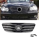 YMSHD Parrilla Delantera Parrilla de 4 Pines para Mercedes Bens Clase C W203 C230 C240 C320 C32 C220 2000-2006 sin Emblema