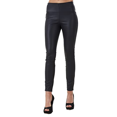 3b0cd9e24c743 Ex Highstreet Ladies Black Slim Fit PU Leggings Black Womens Leather Look  Stretch Jeggings