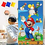 Mario Toss Game with 3 Bean Bags – Funny Super Mario Brother Theme Party Supplies Decorations Style Birthday Party Sign for Kids Girls Boys – Outdoor Indoor Activity Games