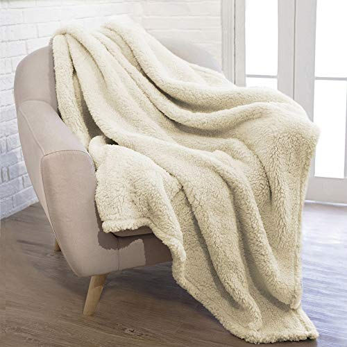 PAVILIA Plush Sherpa Throw Blanket for Couch Sofa | Fluffy Microfiber Fleece Throw | Soft, Fuzzy, Cozy, Shaggy, Lightweight | Solid Ivory Cream Blanket | 50 x 60 Inches