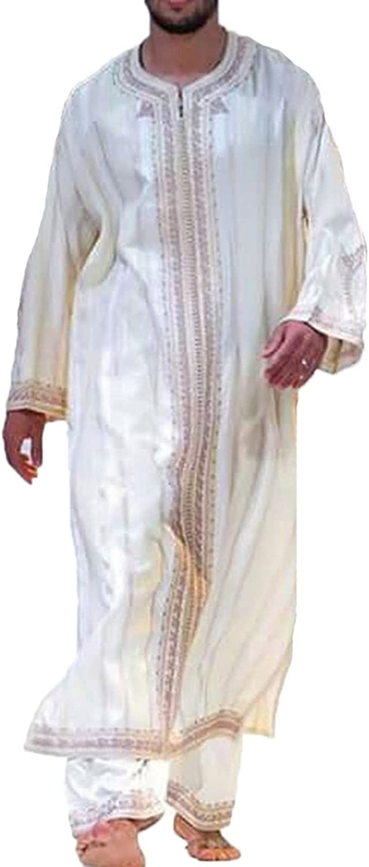 Bata Retro para Hombre Ropa de oración árabe para Hombre Batas Musulmanas Abaya Mogadishu Batas de impresión