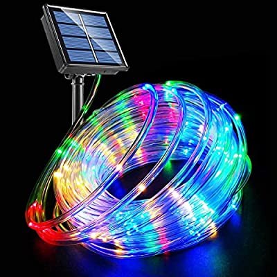 LED Rope Lights Solar Powered String Lights 40Ft 120 LEDs 8 Modes Color Changing Tube Light Indoor Outdoor Waterproof Strip Fairy Lights for Garden Patio Christmas Party Camping Holiday Décor, 1 Pack