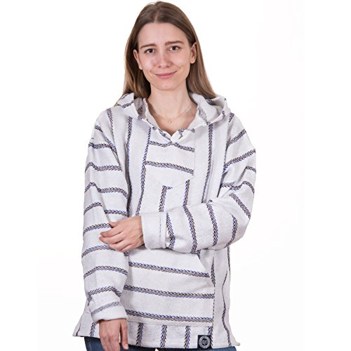 Orizaba Original Baja Hoodie - White Blue Red Black Zigzag - Sierra Negra XL