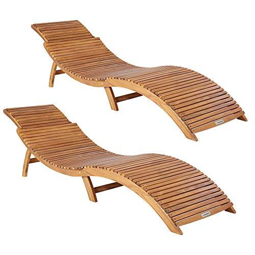 Casaria 2X Sonnenliege FSC®-zertifiziertes Akazienholz Faltbar Kofferfunktion Ergonomisch Gartenliege Liegestuhl Holziege Liege